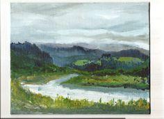 Eel River Valley, Humboldt, CA  plein air acrylic lanscape painting by KristensPaintings