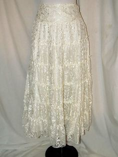 Sz 8 Serene White Lace 7 Tiered Boho Peasant Skirt Unfinished Edges Side Zipper