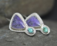 Purple Sugilite Earrings with Turquoise Sterling by PureDichotomy, SOLD