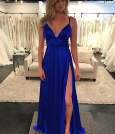 Royal Blue Prom Dress with Slit Evening Dress Winter Formal Dress Pageant Dance Dresses Graduation School Party Gown Royal Blue Prom Dresses, Prom Dresses For Teens, Black Prom Dresses, Pageant Dresses, Dance Dresses, Pretty Dresses, Homecoming Dresses, Bridesmaid Dresses, Wedding Dresses