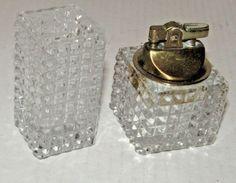 Vintage Art Deco Glass Table Lighter And Cigarette Holder