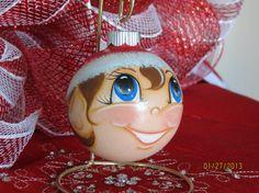 Handpainted Glass Elf Ornament. by GrannyKstreasures on Etsy, $8.00