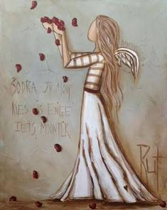 Like this a lot! Angel Drawing, Angel Pictures, Angel Art, Bible Art, Whimsical Art, Rock Art, Painted Rocks, Painting & Drawing, Art Projects