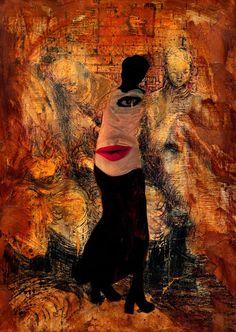 40-ART in PAPER Pintura Mixta Collage Tamaño 30x21 cm  Obra de Arte de la Artista Cris Acqua. http://www.crisacqua.com