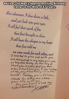 And old man's heartwrenching letter to his wife…