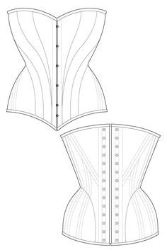 Dinari corset - black historic corset sewing pattern by Ralph Pink
