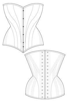 Dinari corset - black historic corset sewing pattern by Ralph Pink