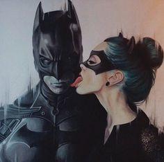 Batman and Catwoman   #DarkKnight #BatmanMovie #ChristianBale #Hathaway #Catwoman #Batman #MuscleGeek #movie #Fanart #Painting