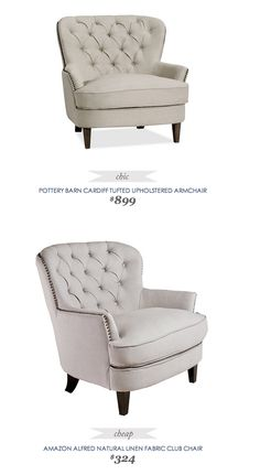 #CopyCatChicFind #PotteryBarn Cardiff #Tufted Upholstered #Armchair $899 - vs - #Amazon Alfred Natural #Linen Club #Chair $324