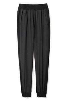 ROMWE | Casual Style Splicing Black Harem Pants, The Latest Street Fashion