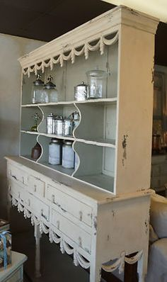 Fabulous Large Antique French country Buffet/Hutch painted in two-toned palate | eBay