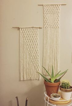 Made to order using organic cotton ivory colored yarn  Available on a piece as driftwood or a wooden dowel  Measures approximately 20 in length