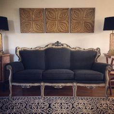 Rescued Sofa. Frame Painted In Country Grey And Graphite Chalk Paint®  Decorative Paint By Annie Sloan.