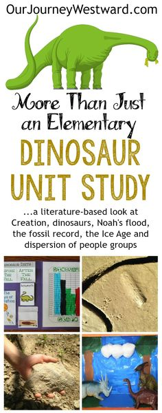 This Creation-based dinosaur unit study also covers Noah's flood, fossils, the Ice Age and more through literature, lapbook, nature study and hands-on activities.