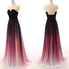 Ombre Prom Dresses New Simple Navy Blue Gradient Chiffon Skirt Long Bridesmaid Dress For Teens,Graduation Dresses