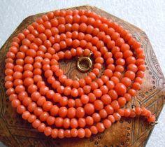 "Antique 10k Gold Salmon Coral Bead, +24""ll  Necklace, 10 grams Estate Lot"