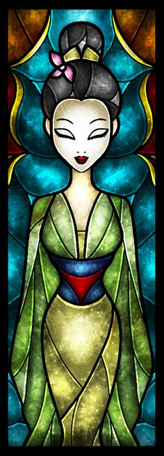 """""""Daughter of Honor"""" Mulan Stained Glass Art"""