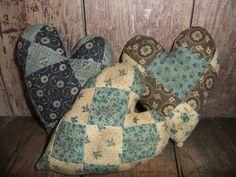 Make Primitive Bowl Fillers | Primitive Heart Bowl Fillers Ornies Quilt Pillows Farmhouse Rustic ...