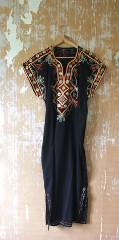 vintage. 60s Black One of a Kind Kaftan // Maxi by styleforlife
