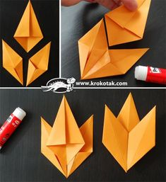 Schulprojekte DIY Origami Herbst-Blatt-Papierkranz Acid Reflux Acid reflux is made up of chronic sym Diy Origami, Geometric Origami, Origami Ball, Paper Crafts Origami, Origami Ideas, Autumn Art, Autumn Leaves, Fall Leaf Template, Leaf Projects