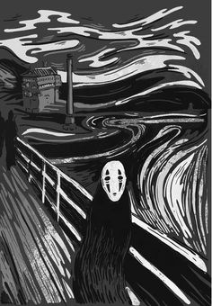 'The Scream' Parody Studio Ghibli Totoro, Studio Ghibli Art, Studio Ghibli Movies, Hayao Miyazaki, Chihiro Y Haku, Castle In The Sky, Howls Moving Castle, Spirited Away, Art Inspo