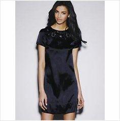 BNWT NAVY BLUE SATIN SEQUIN NECK SHIFT DRESS - LOVE LABEL SIZE 10 on eBid United Kingdom