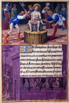 St. Adrian: Martyre de Adrian Border: les chrétiens en prison | Fol. 181V | La Morgan Library and Museum