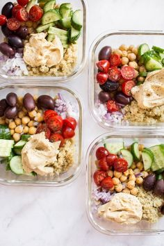 These simple, healthy, and delicious Mediterranean vegan meal prep bowls have quinoa, chickpeas, hummus, and an assortment of veggies. Easily prepare meals for the week with this recipe! Makes a tasty clean eating lunch or dinner. #vegan #mealprep #veganrecipes