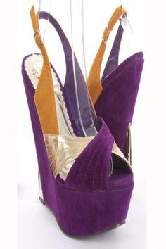 WIU shoes @Jenny Nelson Purple Faux Suede Metallic Cross Strap Slingback Platform Wedges $31