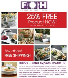 Did you know that through December FOH is offering 25% free product on all Porcelain Dinnerware? FOH has all of your last minute holiday events covered ...  sc 1 st  Pinterest : foh dinnerware - Pezcame.Com
