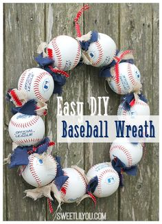 Baseball Wreath - Easy DIY Tutorial - sweet lil you Easy DIY Baseball Wreath<br> This Easy Baseball Wreath is the perfect decor for any baseball fan. Make one for your own door, or to give as a gift to your favorite baseball fan! Baseball Wreaths, Sports Wreaths, Baseball Crafts, Baseball Decorations, Holiday Decorations, Softball Wreath, Diy Craft Projects, Diy And Crafts, Craft Ideas
