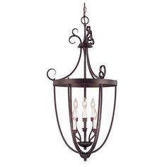 Hanging lantern in English bronze with curled accents, open sides, and an interior candelabra.   Product: LanternConstru...