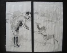 """Painting by Ottavio Taranto - """"Hitler and animals"""", Mixed media on cardboard cm50x45 , December 2012 - private collection, Rome"""