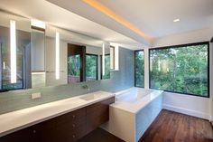 Harris Master Bath - contemporary - bathroom - austin - Hugh Jefferson Randolph Architects rope lighting above, like it
