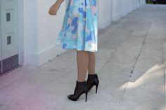 Blue Camo Summer Dress by Ksenia Schnaider and Black Mesh BCBG Gamma Booties