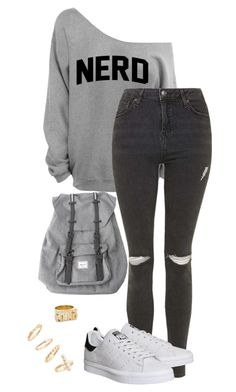 """""""Untitled #141"""" by blackfashion123 ❤ liked on Polyvore featuring Topshop, adidas, Snash Jewelry, BP. and Herschel"""