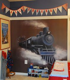 PBK Wall Mural, Cute Train Themed Room Part 92