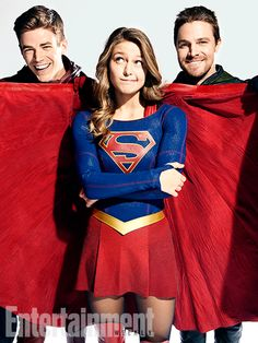 All In The Family: Inside DC's Ultimate Superhero Crossover | Grant Gustin (The Flash), Melissa Benoist (Supergirl), and Stephen Amell (Green Arrow) | EW.com