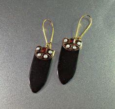 Victorian Garnet Seed Pearl Earrings Sterling by LynnHislopJewels