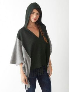 Alpaca Color Blocked Poncho