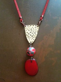 Bohemian Crimson Red Taqua Nut Ceramic Bead and by bymichelemohr