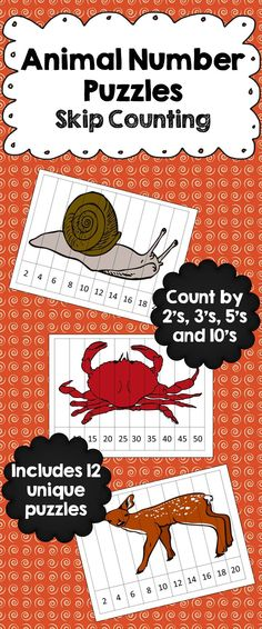 Animal Number Puzzles - Skip Counting! Students practice their skip counting by 2's, 3's, 5's and 10's with these cute animal number puzzles. Set of 12.