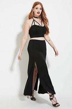 Plus Size High-Slit Maxi Skirt