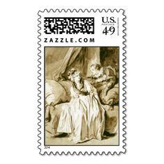 The Letter (Spanish Conversation) by #fragonard #postage #stamp
