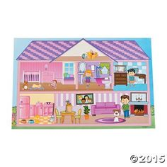 Giant Doll House Sticker Scenes for party favors