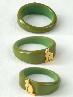 "1930's, child's Bakelite bangle w/ kitty applied. 1 7/8"" inside, <1"" wide. Found in child's jewelry box. Sold"