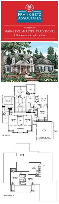Stillbrooke: 2490 sqft, 5 bdrm, main-level-master traditional english house plan design by Frank Betz Associates Inc.
