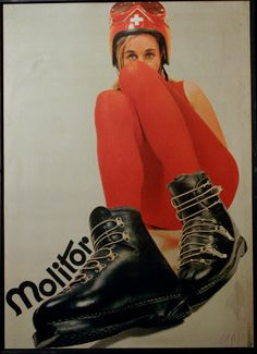 1967 Large RARE Molitor ski boot advertisment Mid by TheModPasse! ( Molitor shop in Wengen)