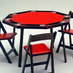 Kestell O-48 Oak Octagonal Folding Poker Table - 48 Inch - O-48-V NATURAL/RED VINYL