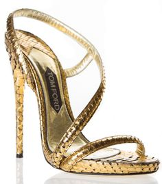 Tom Ford Gold Strappy Phyton Sandal $1,990 #Shoes #Heels
